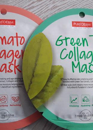 Тканевые круговые маски для лица с зеленым чаем. PUREDERM. Корея