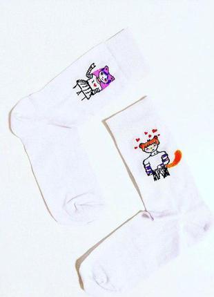 Белые хлопковые носки носочки с принтом рисунком аниме