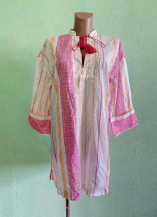 Блуза туника легкая с завязками-кисточками стильная  коттонова...