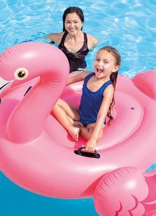 Надувной матрас плот Фламинго Intex розовый