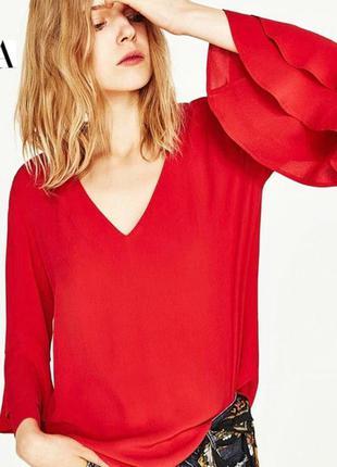 Zara кружевная блузка с воланом длинный расклешенный рукав р.l