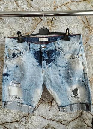 Класнючие джинсовие рвание шорти с дирками zara большого размера