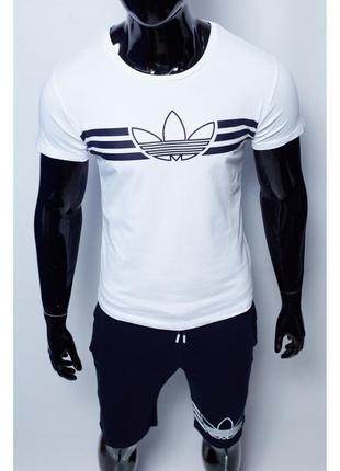 Костюм футболка с шортами мужской adidas  белый с синим в стил