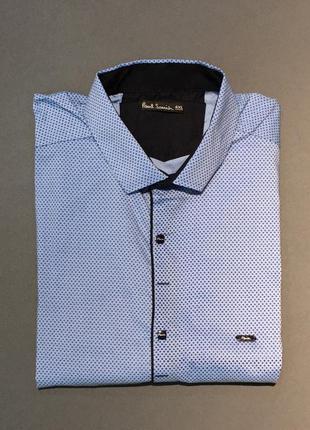Рубашка мужская с коротким рукавом ps  батал голубой