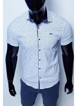 Рубашка мужская короткий рукав paul smith  белая в стиле бре