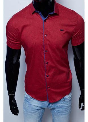 Рубашка мужская короткий рукав paul smith  бордо в стиле бре