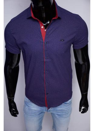 Рубашка мужская короткий рукав paul smith  синяя в стиле бренда