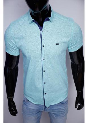 Рубашка мужская короткий рукав paul smith  мята в стиле