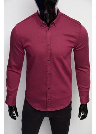 Рубашка мужская джинсовая figo  бордо