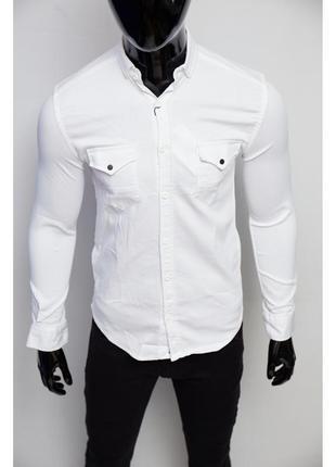 Рубашка мужская джинсовая figo  белая