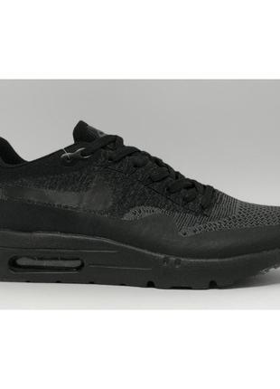 Кроссовки мужские air max 1 ultra flyknit  черные в стиле бренда