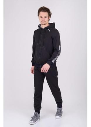 Костюм спортивный мужской pm  трикотаж черный в стиле бренда