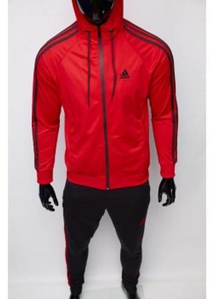 Костюм спортивный мужской adidas  красный в стиле бренда