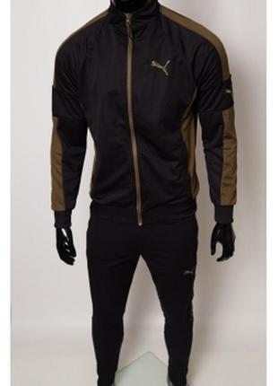 Костюм спортивный мужской pm  черный с зеленым в стиле бренда