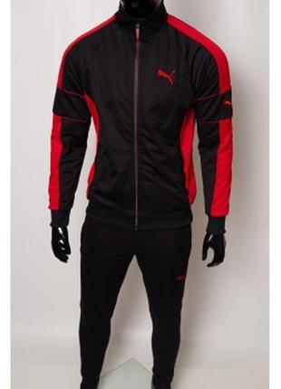 Костюм спортивный мужской pm  черный с красным в стиле бренда