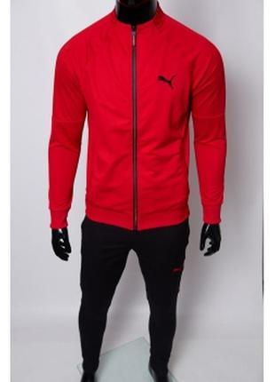Костюм спортивный мужской pm  красный с черным в стиле бренда
