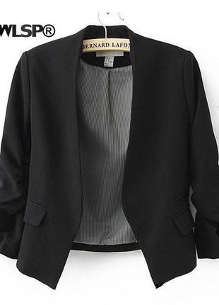 Пиджак черный рукав 3/4 без пуговицы