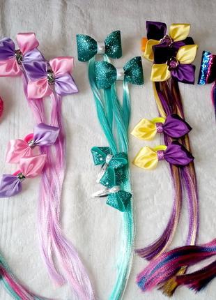 Заколки с цветными прядями для маленьких модниц!!