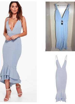 Платье новое с биркой в пол вечернее макси рюши ярусы рыбка v-...
