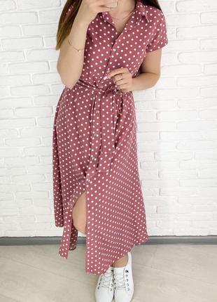 Розовое фрез длинное миди платье халат с ремешком в горошек с ...
