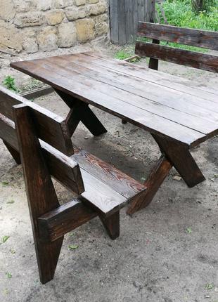 Стол и лавочки садовый набор