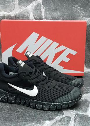 Удобные кроссовки nike free run 3.0 сетка,летние,черны,беговые