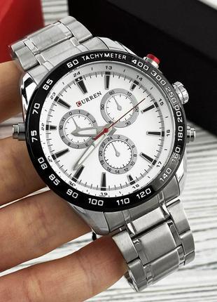 Оригинальные мужские наручные часы Curren Silver-White