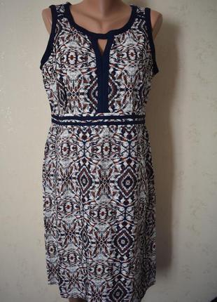 Новое льняное платье с принтом