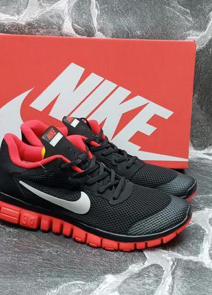 Мужские кроссовки nike free run 3.0 сетка,черные,беговые,летние
