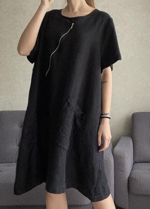 Льняное платье миди ассиметричное timaja
