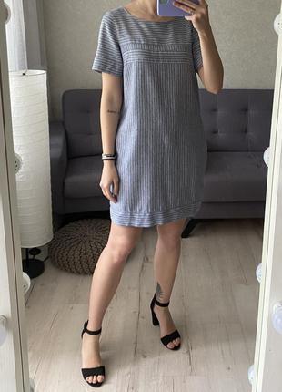 Натуральное льняное платье в полоску next