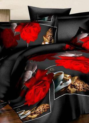 Комплект постельного белье кофе и роза