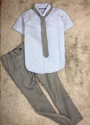 Костюм нарядный мальчику брюки+рубашка+галстук, 5-6 лет