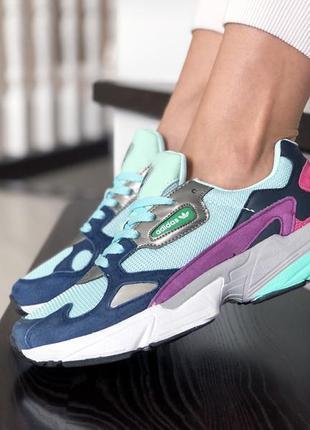 Шикарные женские кроссовки adidas falcon  мятные с фиолетовым