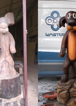 Резная садово-парковая скульптура фигура из дерева на заказ
