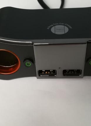 Разветвитель прикуривателя в авто 3в1 LCD дисплей, вольтметр, t°