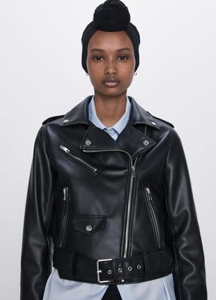 Косуха faux leather biker jaket zara