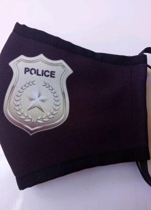Маска детская защитная многоразовая  с принтом значек полиция.