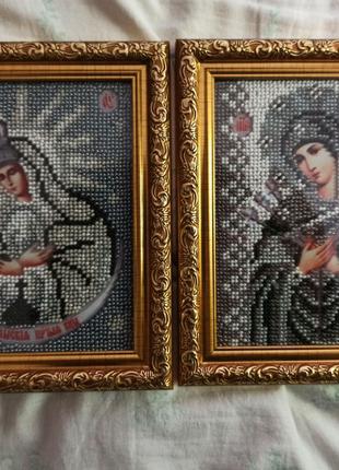 Набор икон вышитых чешским бисером
