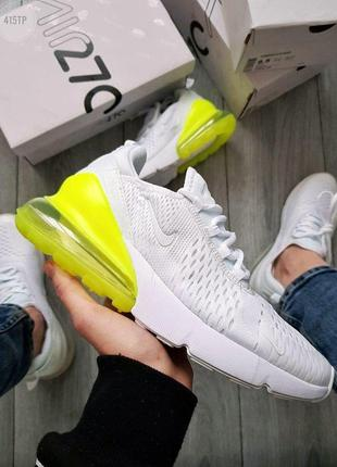 Кроссовки мужские nike air max 270 flyknit white/green 🌶