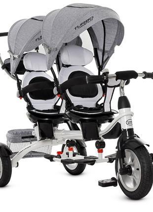 Велосипед трехколесный для двойни Turbo Trike надувные колеса