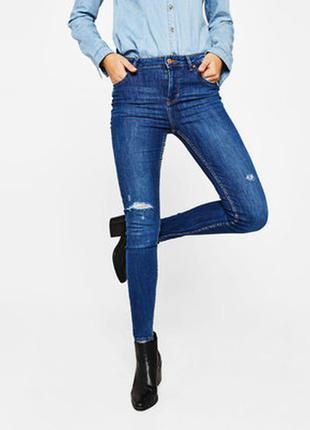 Летние скинни,джинсы,рванки,высокая посадка bershka