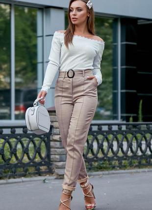 Шикарные брюки с завышенной талией лён