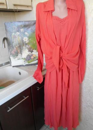 #spicy#коралловый костюм из коттона #рубашка и юбка #большой р...