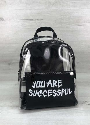 Силиконовый рюкзак с принтом черный