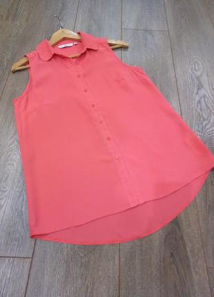 персиковая блуза разлетайка рубашка без рукава Нежного персиковог