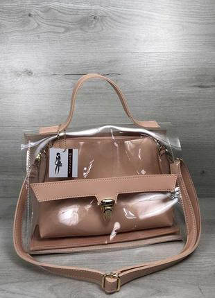 2в1 молодежная женская сумка пудрового цвета с силиконом