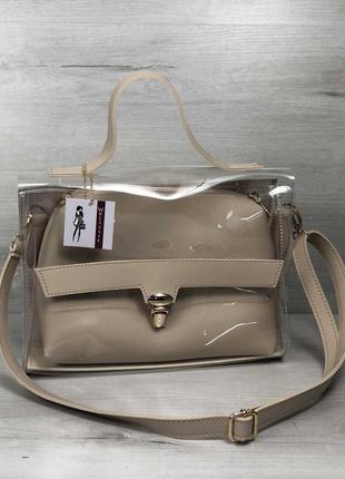 2в1 молодежная женская сумка бежевого цвета с силиконом
