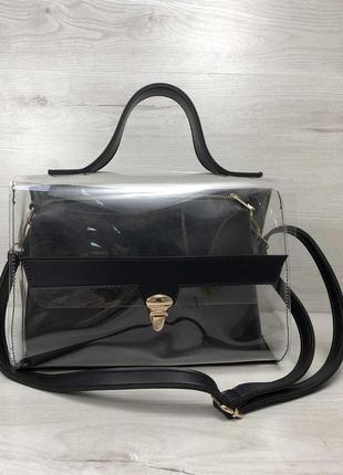 2в1 молодежная женская сумка черного цвета с силиконом