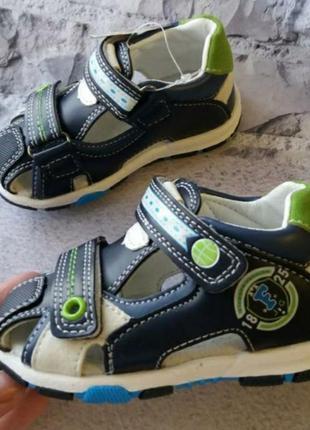 Кожаный босоножки сандали мальчику детские летние мокасины хло...